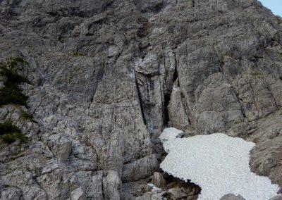 04 Nordwand Erstes Schneefeld